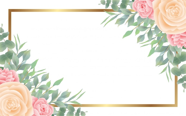 Watercolor flower and leaf style background and golden frame Premium Vector