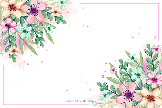 Watercolor flower and leaves background Free Vector