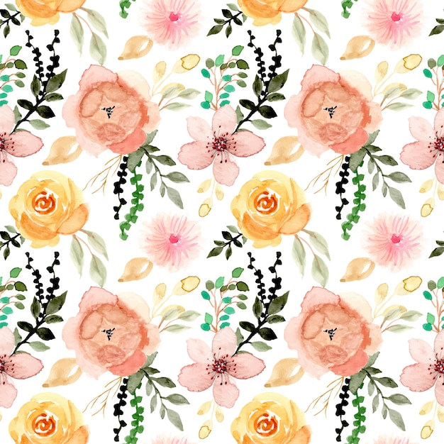 Watercolor flower and leaves seamless pattern Premium Vector