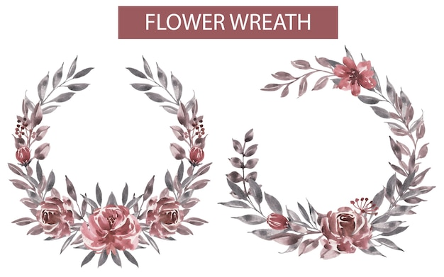 Watercolor flower maroon wreath Free Vector