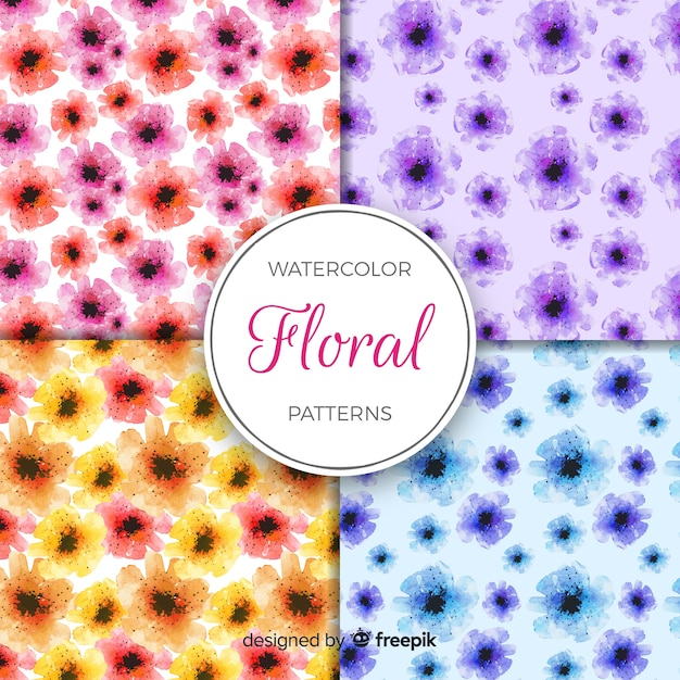 Watercolor flower pattern collection Free Vector