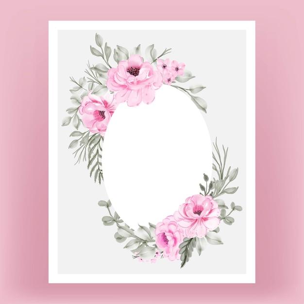 水彩花ピンクと葉フレームの背景 無料ベクター