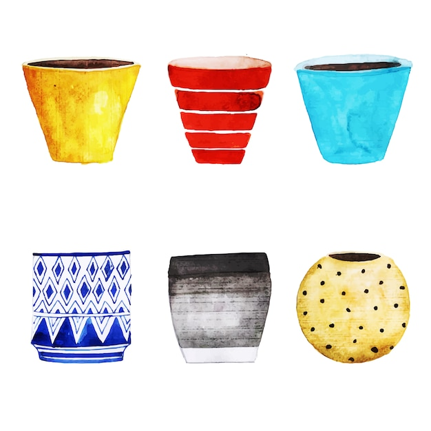 Watercolor flower pots collection Free Vector