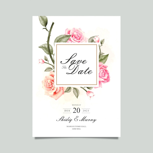 Watercolor flower save the date card Premium Vector