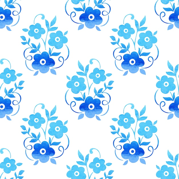 Watercolor flower seamless pattern background. elegant texture for backgrounds. Free Vector