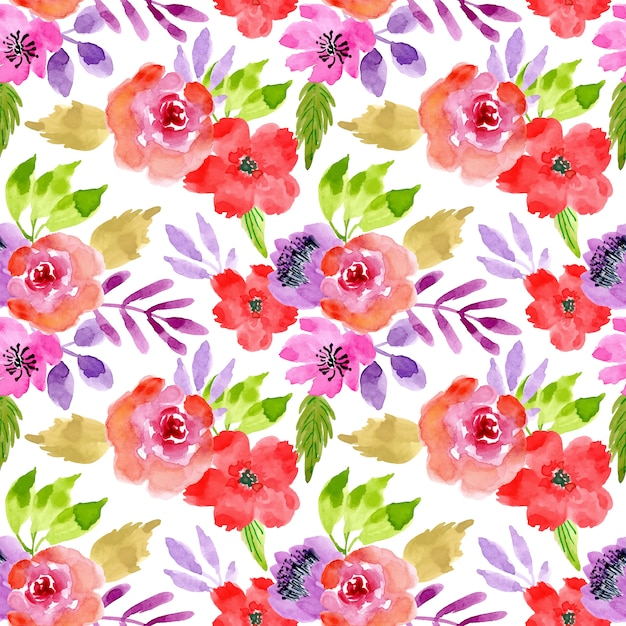 Watercolor flower seamless pattern Premium Vector