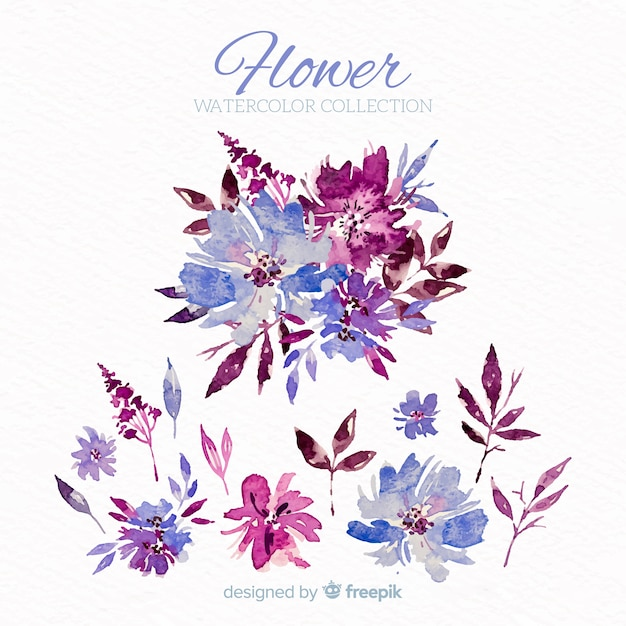 Watercolor flower set Free Vector