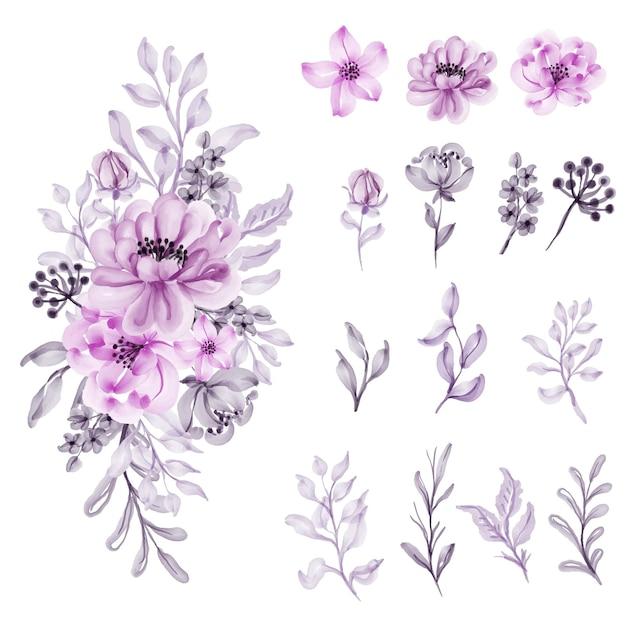 수채화 꽃 부드러운 파스텔 핑크 절연 무료 벡터