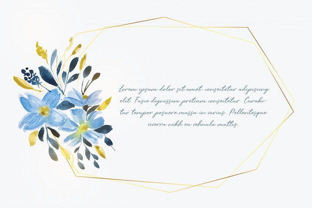 Watercolor flower with golden frame and text space Free Vector