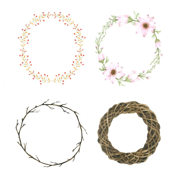 Watercolor flower wreath Premium Vector