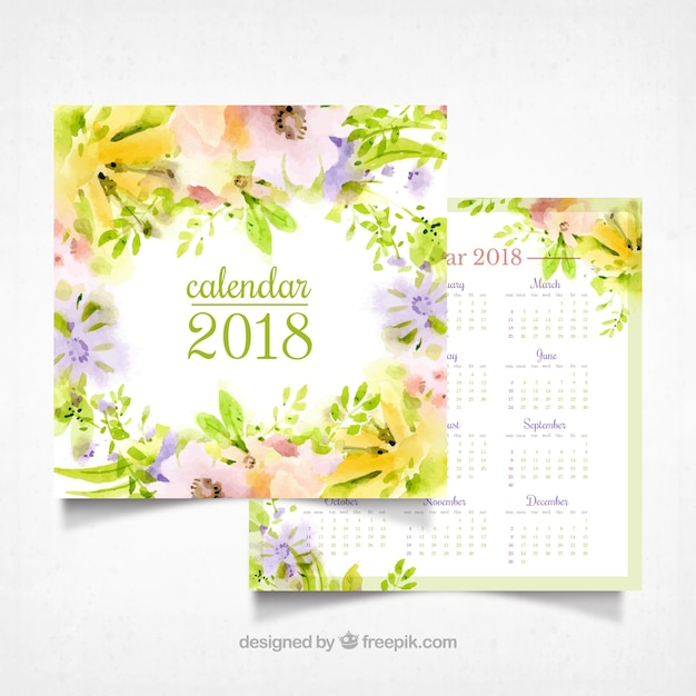 Watercolor flowers 2018 calendar Free Vector
