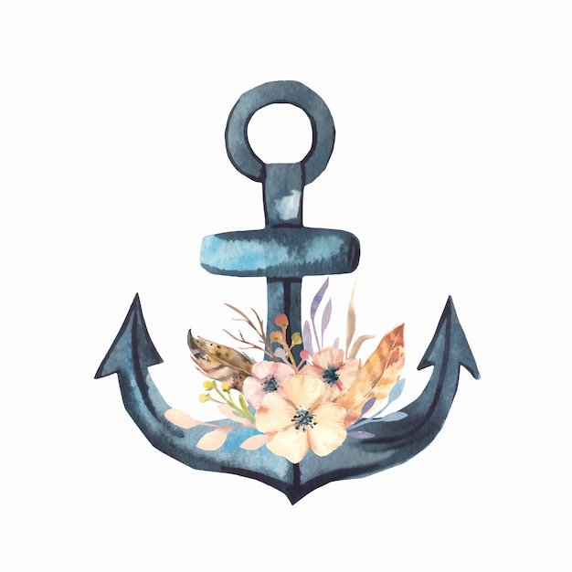 Watercolor flowers and anchor. Premium Vector