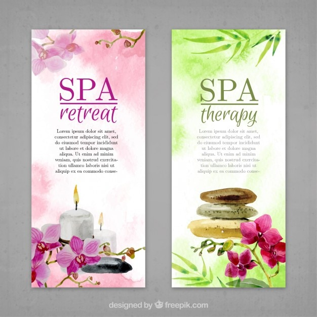 Watercolor flowers and spa elements banners  Free Vector