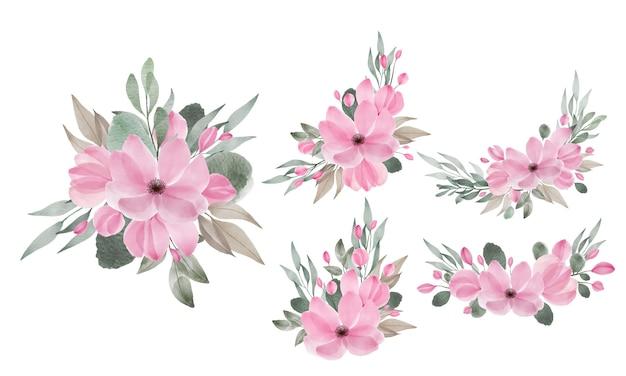 Акварельные цветочные композиции для свадебного приглашения и элементы дизайна поздравительных открыток Бесплатные векторы