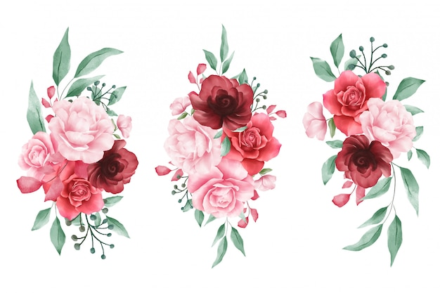 Watercolor flowers arrangements for wedding or greeting cards elements Premium Vector