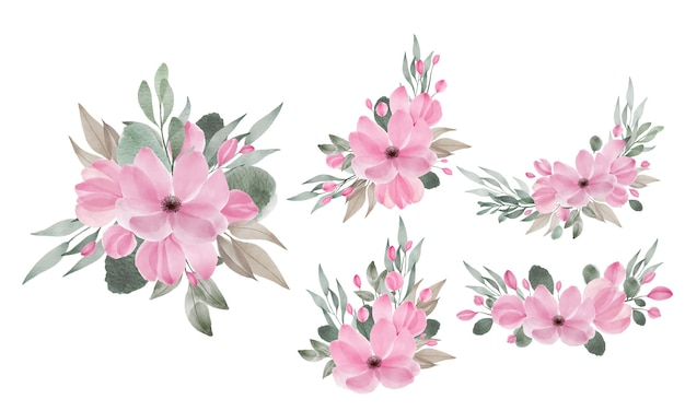 Watercolor flowers arrangements for wedding invitation and greeting card design elements Free Vector