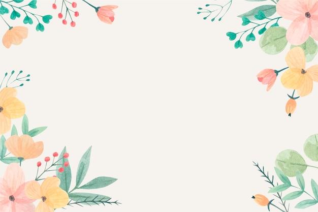 파스텔 색상의 수채화 꽃 배경 프리미엄 벡터