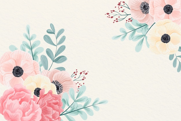 Watercolor flowers background in pastel colors Free Vector