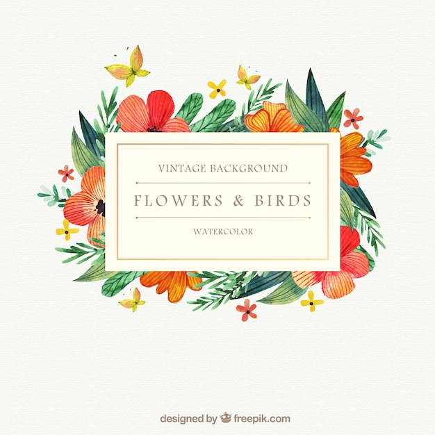 Watercolor flowers and birds background Free Vector
