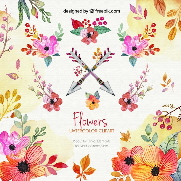Watercolor flowers vector. Clipart free download