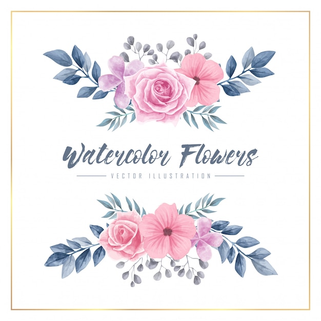 Watercolor flowers floral frame vector illustration Premium Vector