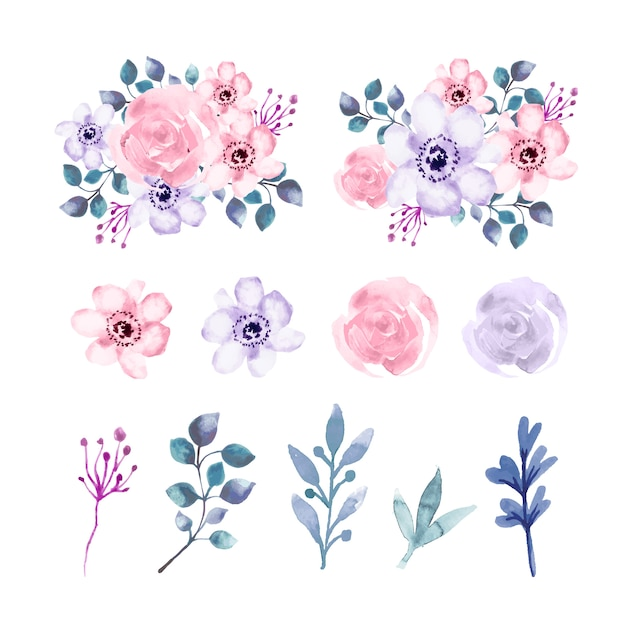 Watercolor flowers and leaves element set Free Vector