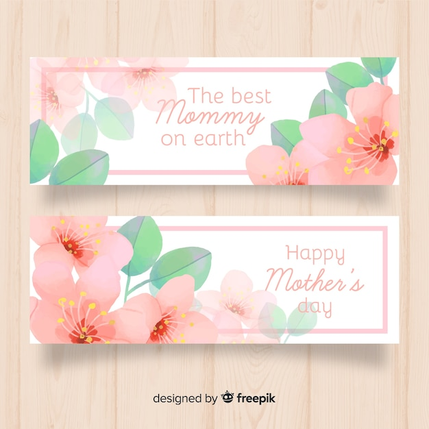 Watercolor flowers mother's day banner Free Vector