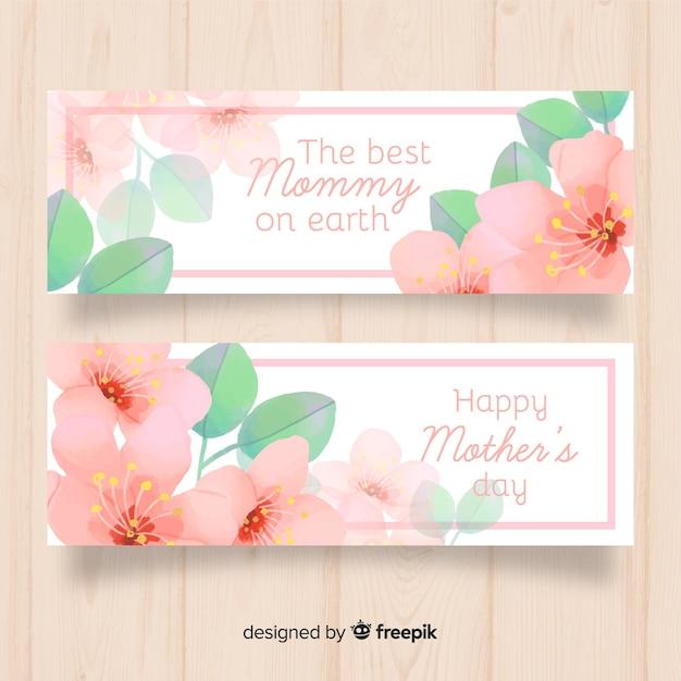 Acquerello fiori banner festa della mamma Vettore gratuito