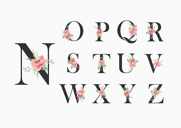 Nからzのアルファベットのテンプレートに水彩花 Premiumベクター