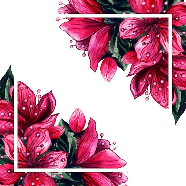 水彩花ピンクの花びらフレーム 無料ベクター
