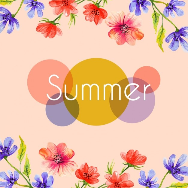Watercolor flowers summer background