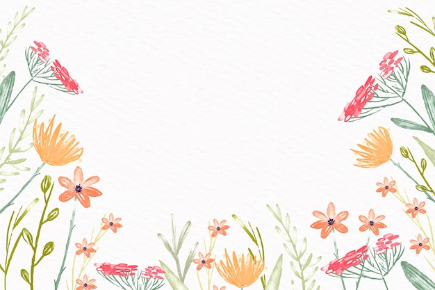 Watercolor flowers wallpaper in pastel colors design Premium Vector
