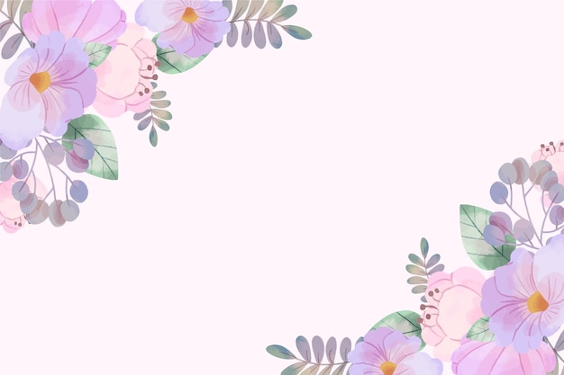 Watercolor flowers wallpaper in pastel colors Free Vector