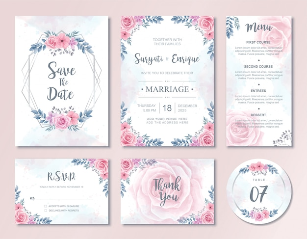 Watercolor flowers wedding invitation card template set Premium Vector