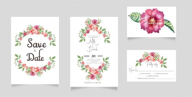 Watercolor flowers wedding invitation rsvp card Premium Vector