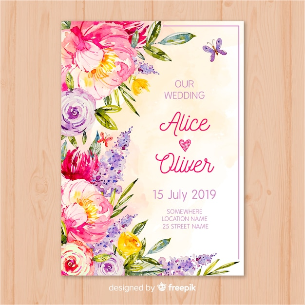 Watercolor Flowers Wedding Invitation Template Vector