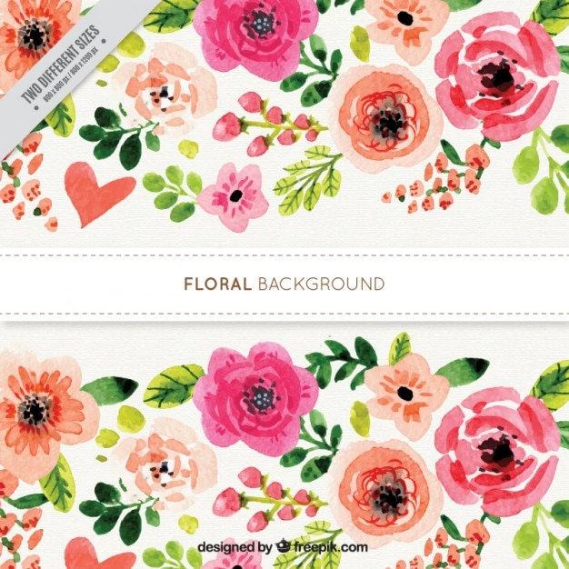 Watercolor flowery background with roses Free Vector