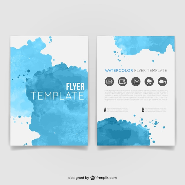Watercolor flyer template Vector – Blue Flyer Template