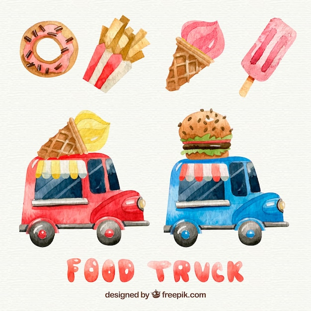 Watercolor food and food trucks