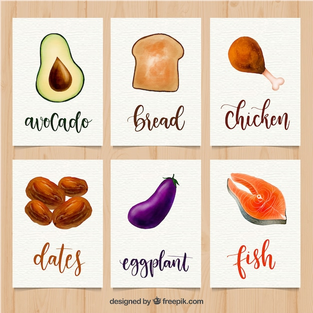 Watercolor food card collection Free Vector