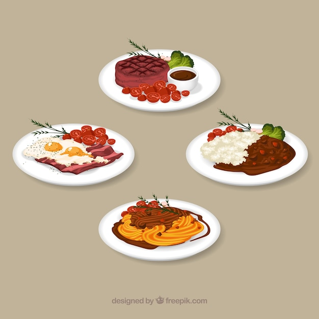 Watercolor food dish collection Free Vector