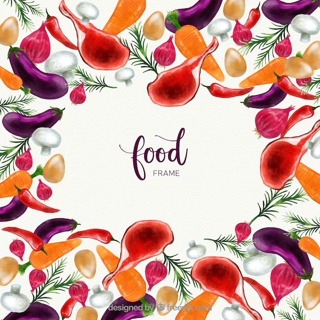 Watercolor food frame with colorful style Free Vector