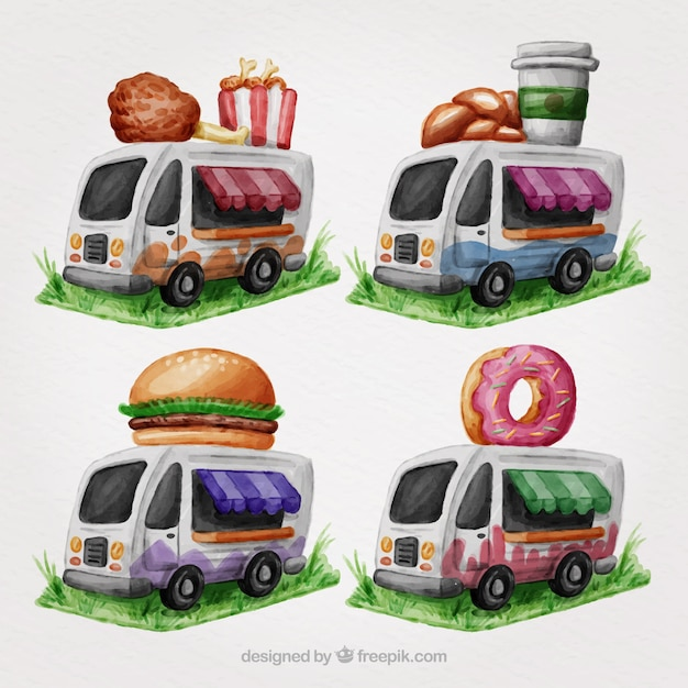 Watercolor food trucks with variety of\ food