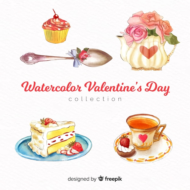 Watercolor food valentine elements pack Free Vector