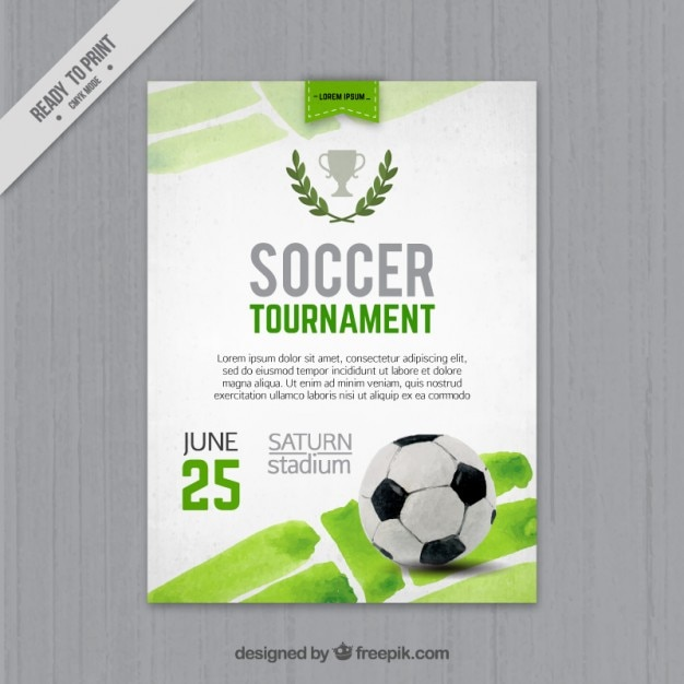 Watercolor Football Tournament Flyer Vector Free Download