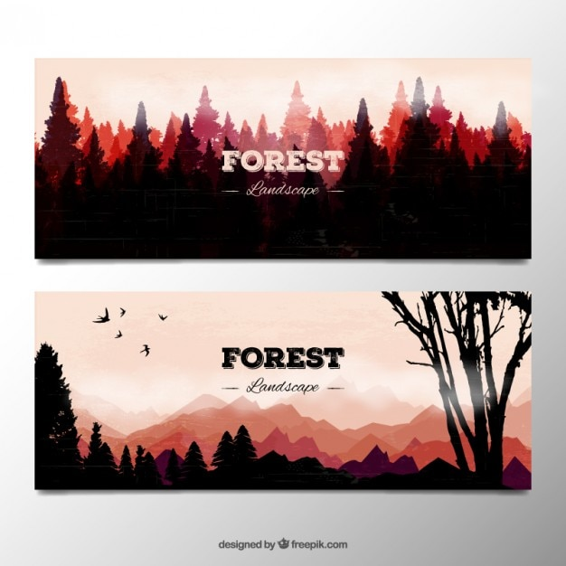 Watercolor forest landscape silhouttes\ banners