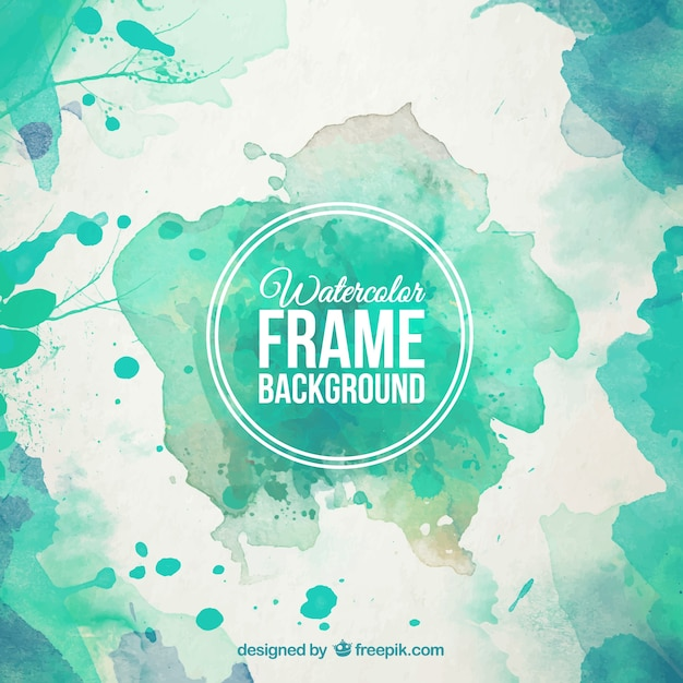 Watercolor frame background in turquoise tones Free Vector