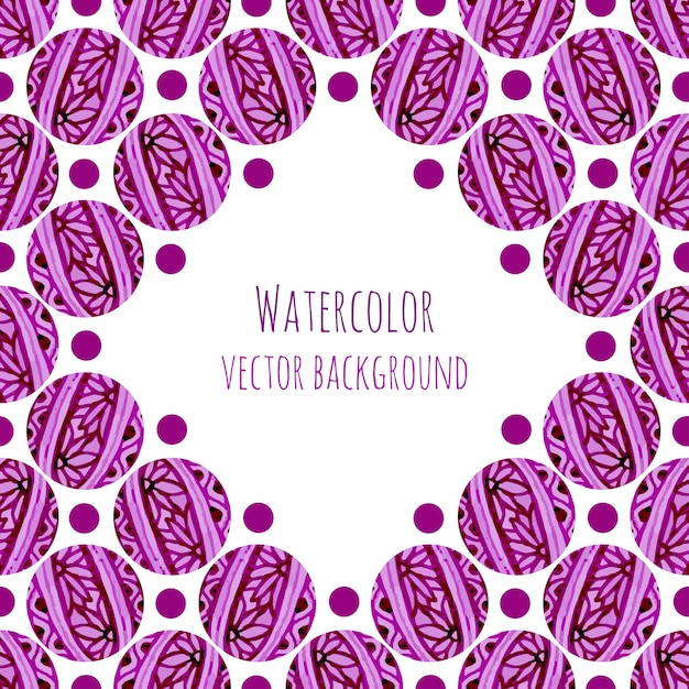 Watercolor frame background with pink floral circles knitting texture Premium Vector