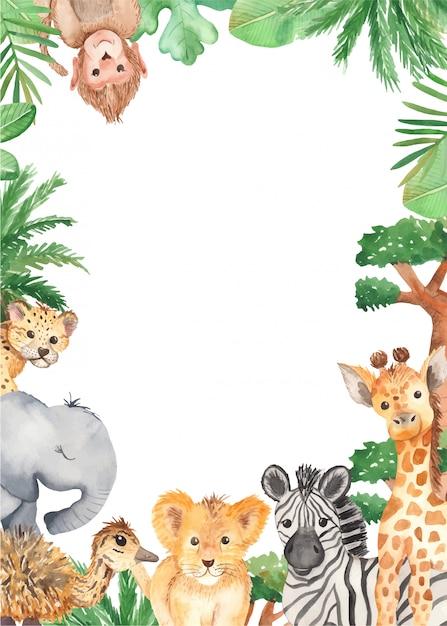Watercolor frame cute cartoon animals of africa Premium Vector
