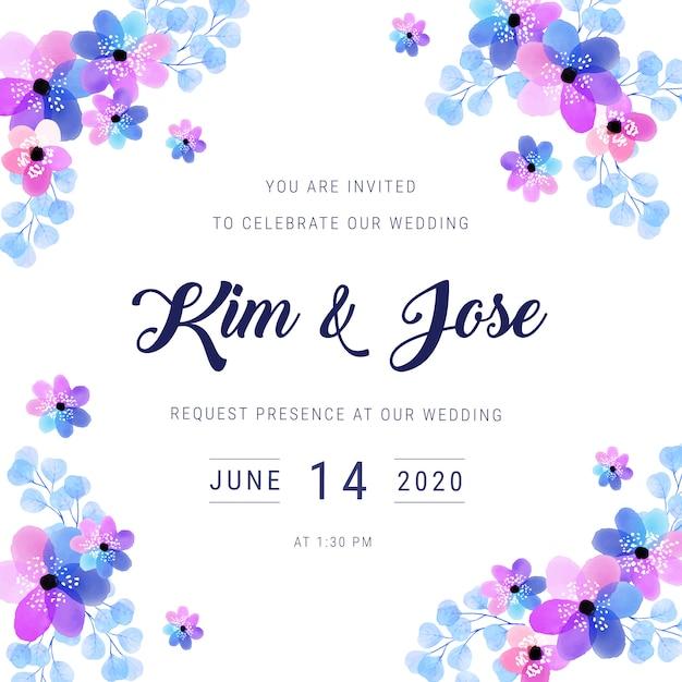 Watercolor frame wedding invitation Free Vector